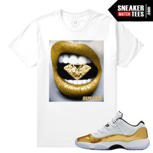 Jordan 11 low gold Matching Sneaker T shirt