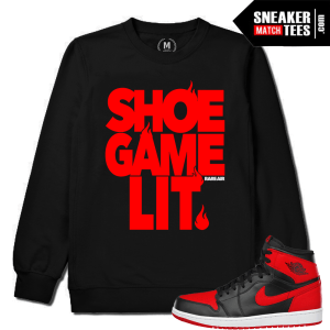 Jordan Retros 1 Banned Match Black Crewneck