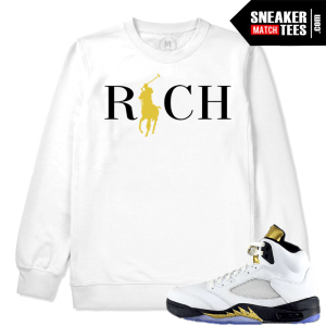 Match Jordan V Olympic White Crewneck Sweatshirt