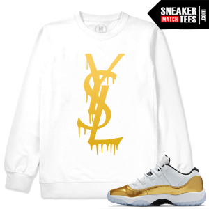 White Crewneck Match Jordan 11 Low Gold