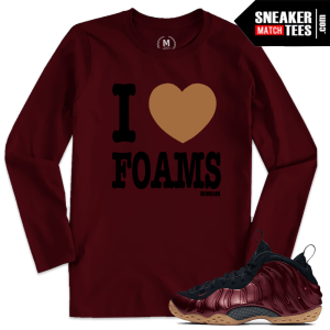Night Maroon Foams Match I Love Foams T shirt