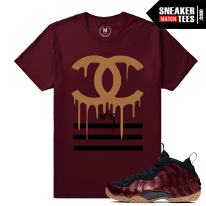 Sneaker Match Tees Maroon Foamposite Nike