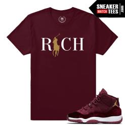 Sneaker Match Tees Velvet 11 Maroon T shirt