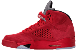 Jordan 5 Red Suede Inside side view