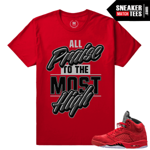 Jordans 5 shirts matching Red 5s