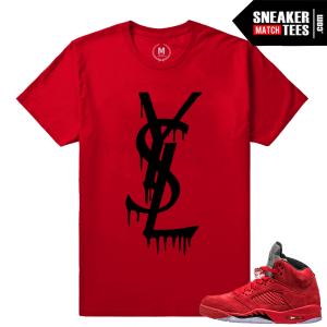Red Jordans shirt matching Jordan Retro 5