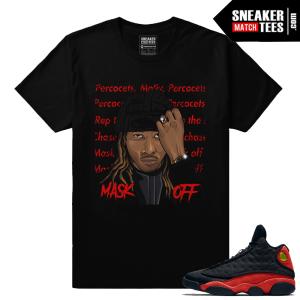 Jordan Retros 13 Bred Sneaker Match Mask Off T shirt