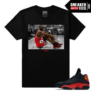 Jordan wearing Bred 13s t shirt