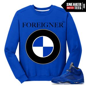 Blue Suede 5s Crewneck Foreigner