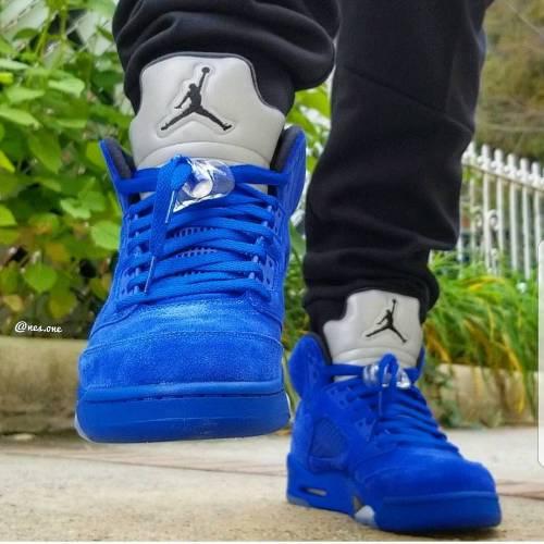 Blue Suede 5s On Feet Look