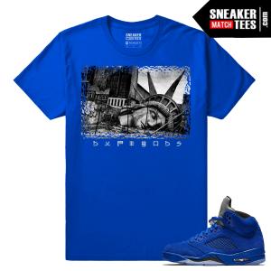 Blue Suede 5s Sneaker tees