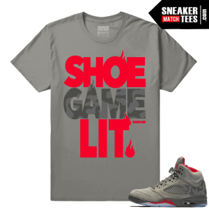 Camo 5 Jordan Retro Matching Shirt Shoe Game Lit