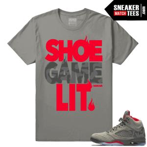 Camo 5 Jordan Retro Matching Shirt Shoe Game Lit