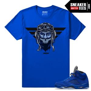 Jordan 5 Blue Suede Sneaker tee
