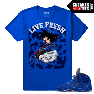 Jordan 5 Blue Suede Sneakers Match tees