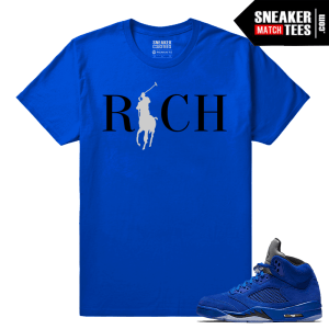 Jordan 5 Clothing T shirt Blue Suede