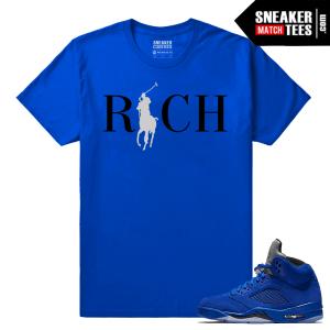 Jordan 5 Clothing T shirt Blue Suede