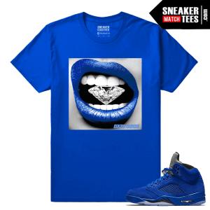 Jordan 5s t shirt Blue Suede