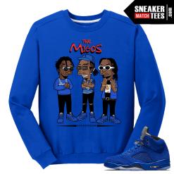 Migos Crewneck Sweater Blue Suede 5s