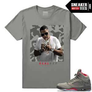 Nas Real Rap T shirt Camo Jordans 5