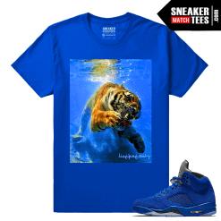 Retro Jordans 5 Blue Suede sneaker tee