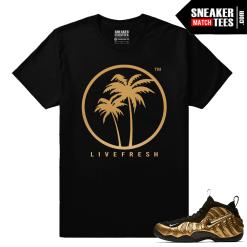 Gold Foamposites Live Fresh Palm Logo Black Sneaker tees