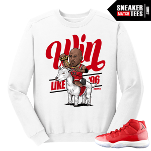 Jordan 11 Win like 96 Gym Red Goat White Crewneck Sweater