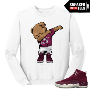 Jordan 12 Bordeaux Dabin Polo Bear White Crewneck Sweater