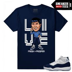 Jordan 11 Midnight Navy Sneaker tees Live Fresh & Prosper