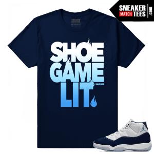 Jordan 11 Midnight Navy T shirt Shoe Game Lit