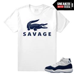 Jordan 11 Sneaker tees Midnight Navy White T shirt Savage