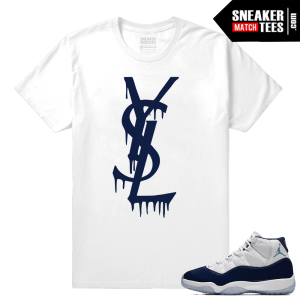 Jordan 11 Sneaker tees Midnight Navy White T shirt YSL Drip