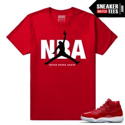 Jordan 11 Win Like 96 Sneaker tees Red Never Broke NBA