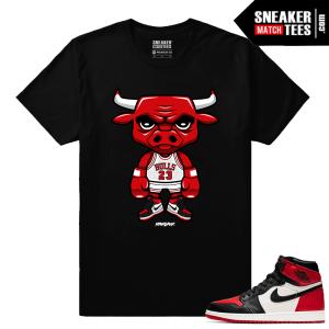 Jordan 1 Bred Toe Sneaker tees Black Bred Toe Bull