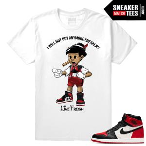 Jordan 1 Bred Toe Sneaker tees White Live Fresh Pinocchio