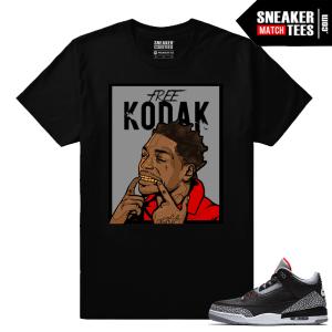 Jordan 3 Black Cement Sneaker tees Free Kodak