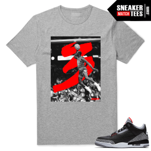 Jordan 3 Black Cement Sneaker tees Heather Grey Free Throw Line