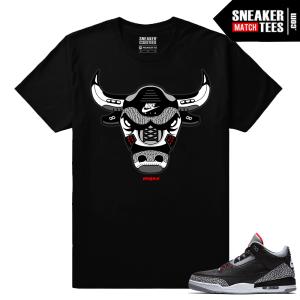 Jordan 3 Black Cement Sneaker tees Rare Cement Bull