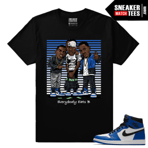 Jordan 1 Game Royal Sneaker Match Tees Black Everybody eats B