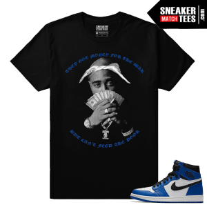 Jordan 1 Game Royal Sneaker Match Tees Black Money for Wars