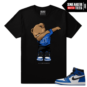 Jordan 1 Game Royal Sneaker Match Tees Black Polo Dabin Bear
