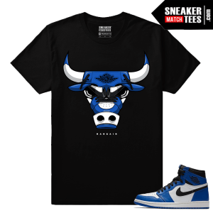 Jordan 1 Game Royal Sneaker Match Tees Black Rare Air Bull 1s
