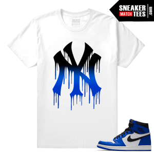 Jordan 1 Game Royal Sneaker Match Tees White NY DRIP