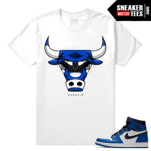 Jordan 1 Game Royal Sneaker Match Tees White Rare Air Bull 1s