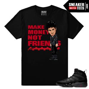 Jordan 9 Bred Sneaker Match Tees Black Make Money Not Friends