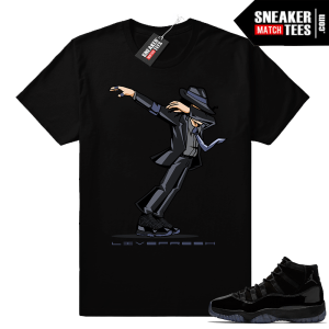 Black Jordan 11 sneaker tees Cap and Gown