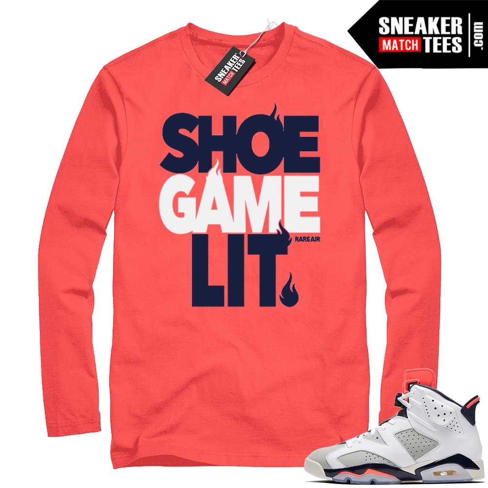 Air Jordan 6 shoe game lit shirt