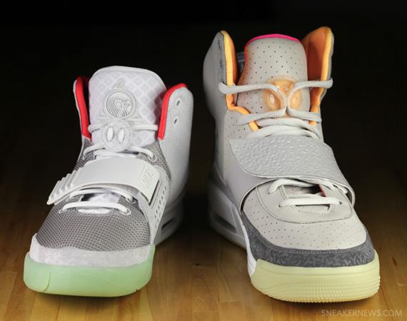 "Nike Air Yeezy ""Zen Grey"" Vs. ""Pure Platinum"