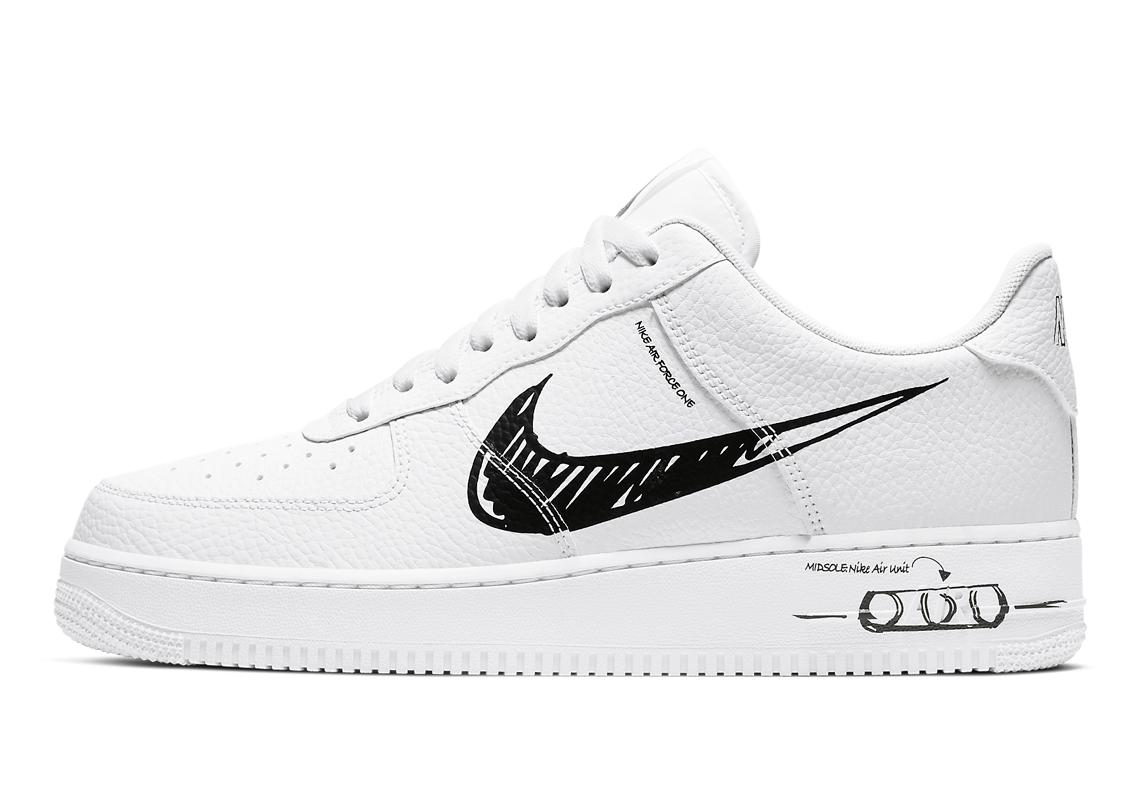 Nike Air Force 1 Low Sketch Pack Noir CW7581-101 - Crumpe