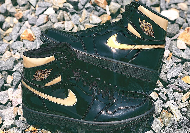Air Jordan 1 Black Gold Patent Leather Release Info Crumpe